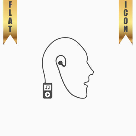 freebie: Mobile music technology human connection. Flat Icon. Vector illustration grey symbol on white background with gold ribbon