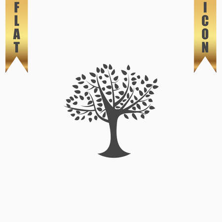 family gardening: Decorative simple tree. Flat Icon. Vector illustration grey symbol on white background with gold ribbon