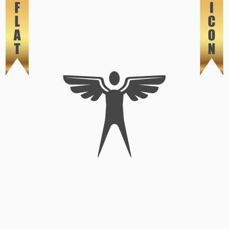 icarus: Winged man. Flat Icon. Vector illustration grey symbol on white background with gold ribbon
