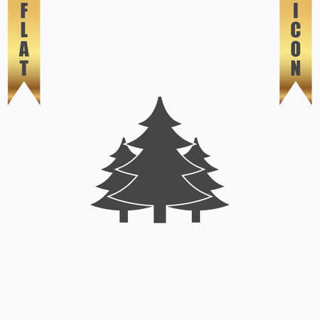 Tree, Christmas fir tree. Flat Icon. Vector illustration grey symbol on white background with gold ribbon