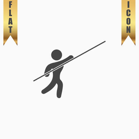 Pole vault athlete. Flat Icon. Vector illustration grey symbol on white background with gold ribbon