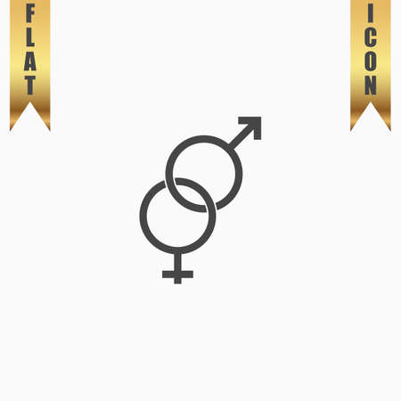 Twisted male and female symbol. Flat Icon. Vector illustration grey symbol on white background with gold ribbon