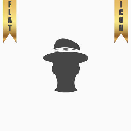 conservative: Man head with hat. Flat Icon. Vector illustration grey symbol on white background with gold ribbon