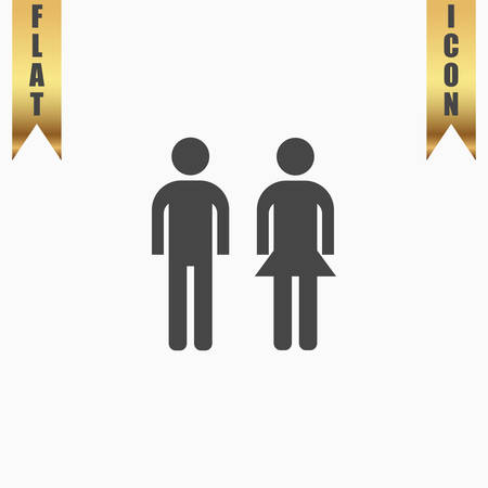 compliant: Simple man and woman. Flat Icon. Vector illustration grey symbol on white background with gold ribbon Illustration