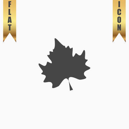 gold leaf: Maple Leaf. Flat Icon. Vector illustration grey symbol on white background with gold ribbon