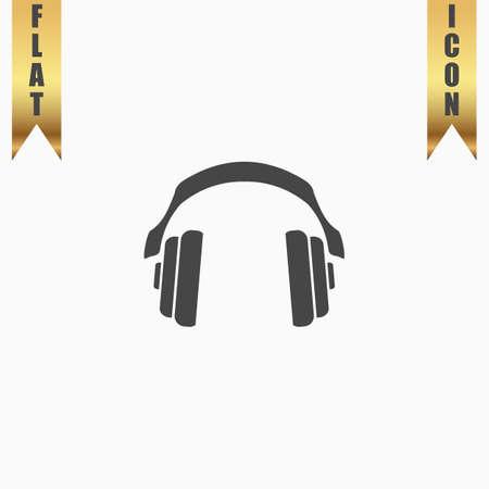 aria: Retro headphone. Flat Icon. Vector illustration grey symbol on white background with gold ribbon
