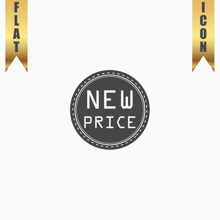 New Price Badge, Label or Sticker. Flat Icon. Vector illustration grey symbol on white background with gold ribbon Illustration