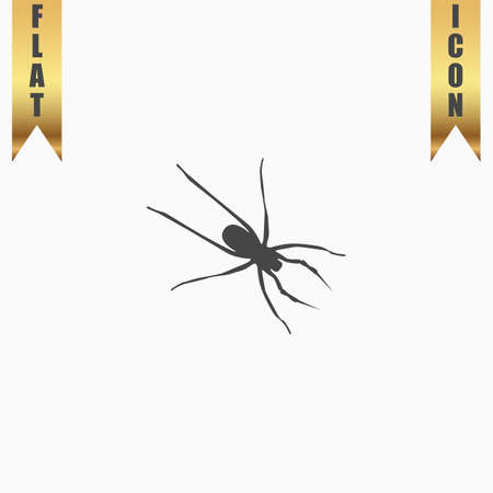 witchery: Spider. Flat Icon. Vector illustration grey symbol on white background with gold ribbon