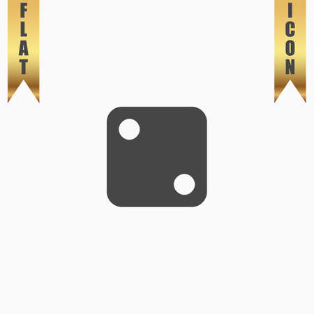 stake: One dices - side with 2. Flat Icon. Vector illustration grey symbol on white background with gold ribbon