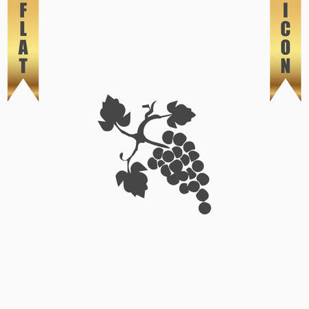 Bunch of grapes. Flat Icon. Vector illustration grey symbol on white background with gold ribbon