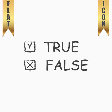 true or false: True and False. Flat Icon. Vector illustration grey symbol on white background with gold ribbon