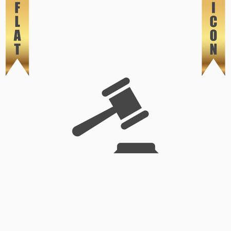 Judge gavel. Flat Icon. Vector illustration grey symbol on white background with gold ribbon