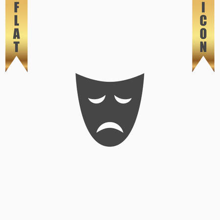 stage costume: Sadness mask. Flat Icon. Vector illustration grey symbol on white background with gold ribbon