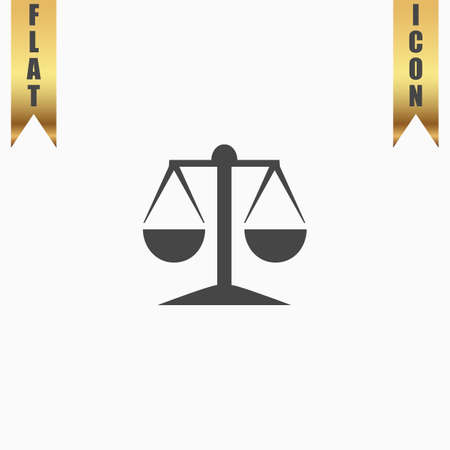 acquittal: Mechanical scales. Flat Icon. Vector illustration grey symbol on white background with gold ribbon Illustration
