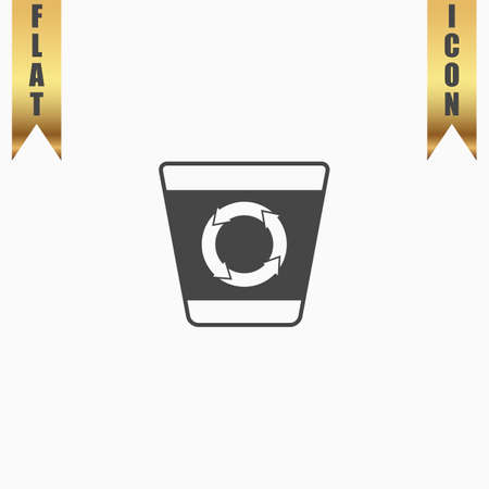 refuse bin: Recycle bin. Flat Icon. Vector illustration grey symbol on white background with gold ribbon