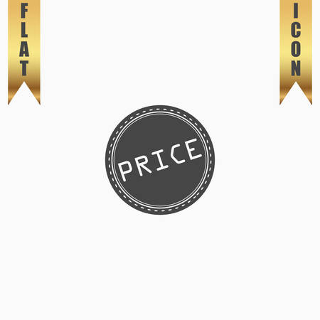 Price Badge Label or Sticker. Flat Icon. Vector illustration grey symbol on white background with gold ribbon