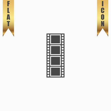 cinematographic: Cinematographic film. Flat Icon. Vector illustration grey symbol on white background with gold ribbon Illustration
