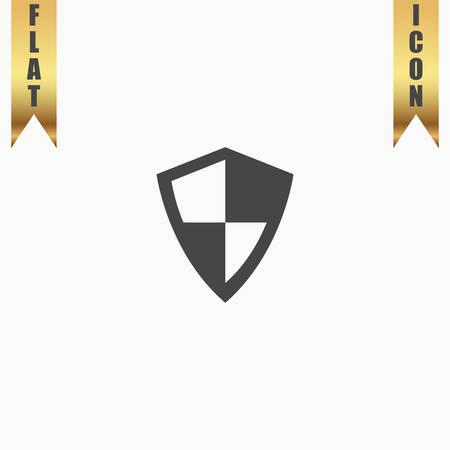 Protection. Flat Icon. Vector illustration grey symbol on white background with gold ribbon Illustration