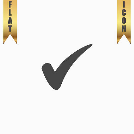 Confirm. Flat Icon. Vector illustration grey symbol on white background with gold ribbon Illustration