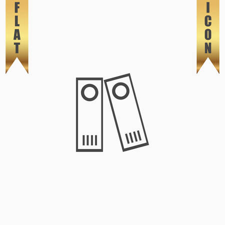 classify: Row of binders. Flat Icon. Vector illustration grey symbol on white background with gold ribbon