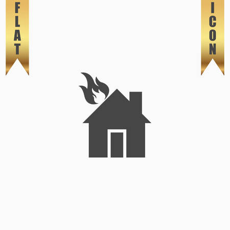 gold house: House on fire. Flat Icon. Vector illustration grey symbol on white background with gold ribbon