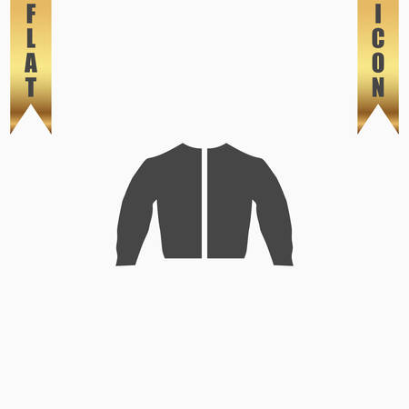 fur hood: Sports jacket. Flat Icon. Vector illustration grey symbol on white background with gold ribbon Illustration