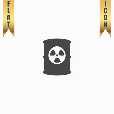 radioactive symbol: Container with radioactive waste. Flat Icon. Vector illustration grey symbol on white background with gold ribbon Illustration