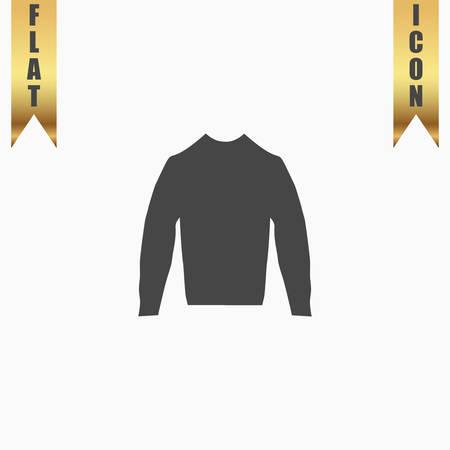 v neck: Clothing sweater Pictogram. Flat Icon. Vector illustration grey symbol on white background with gold ribbon
