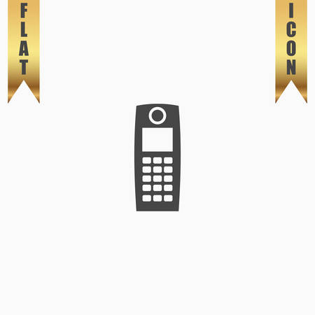 Retro mobile phone. Flat Icon. Vector illustration grey symbol on white background with gold ribbon Illustration