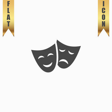 Happy and sad Theater masks. Flat Icon. Vector illustration grey symbol on white background with gold ribbon