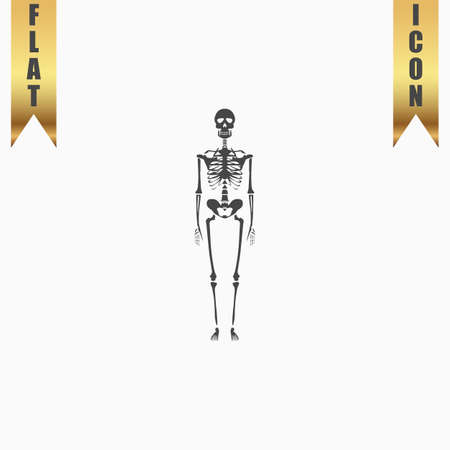 Skeletons - human bones. Flat Icon. Vector illustration grey symbol on white background with gold ribbon