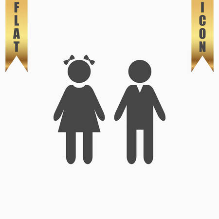 doughter: Girl and boy. Flat Icon. Vector illustration grey symbol on white background with gold ribbon Illustration