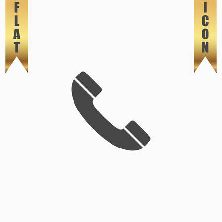 earpiece: Telephone handset. Flat Icon. Vector illustration grey symbol on white background with gold ribbon