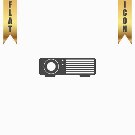 Projector. Flat Icon. Vector illustration grey symbol on white background with gold ribbon