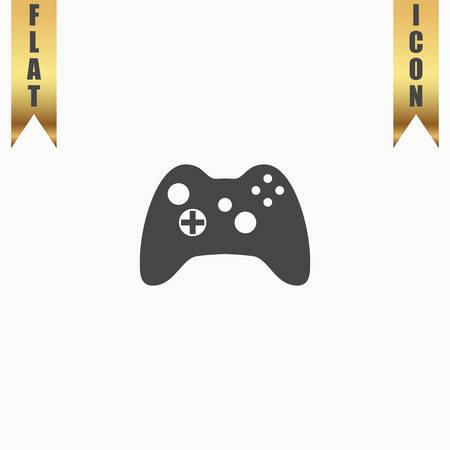 joypad: Gamepad. Flat Icon. Vector illustration grey symbol on white background with gold ribbon