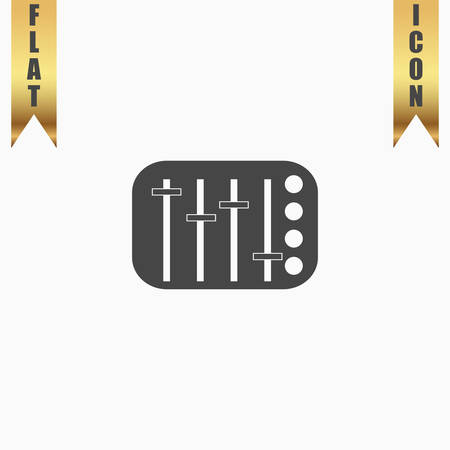 sound mixer: Sound Mixer Console. Flat Icon. Vector illustration grey symbol on white background with gold ribbon