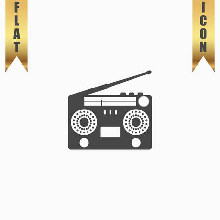 boombox: Classic 80s boombox. Flat Icon. Vector illustration grey symbol on white background with gold ribbon Illustration