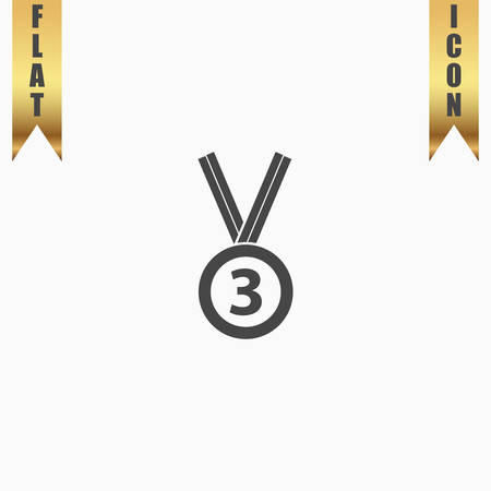 accomplishment: Bronze medal with ribbon. third prize, award accomplishment. 3nd place. Flat Icon. Vector illustration grey symbol on white background with gold ribbon