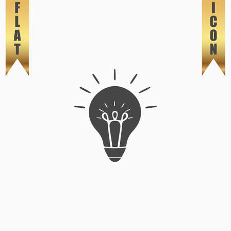 scriibble: Light bulb. Flat Icon. Vector illustration grey symbol on white background with gold ribbon Illustration