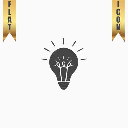 Light bulb. Flat Icon. Vector illustration grey symbol on white background with gold ribbon Illustration
