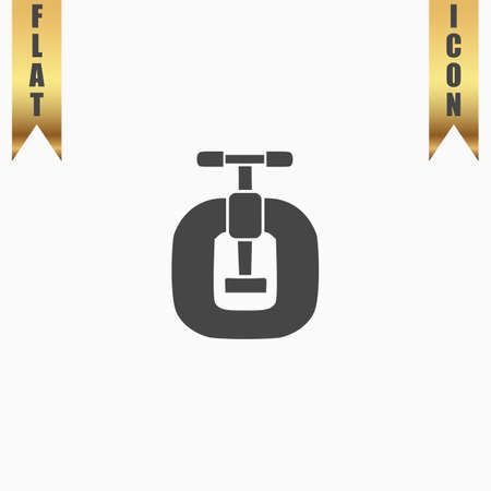 vices: Bench vices. Flat Icon. Vector illustration grey symbol on white background with gold ribbon