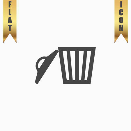 scrapyard: Trash can. Flat Icon. Vector illustration grey symbol on white background with gold ribbon