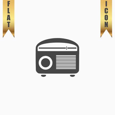 radiogram: Retro revival radios tuner. Flat Icon. Vector illustration grey symbol on white background with gold ribbon