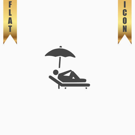 woman laying down: Simple Relax under an umbrella on a lounger. Flat Icon. Vector illustration grey symbol on white background with gold ribbon Illustration