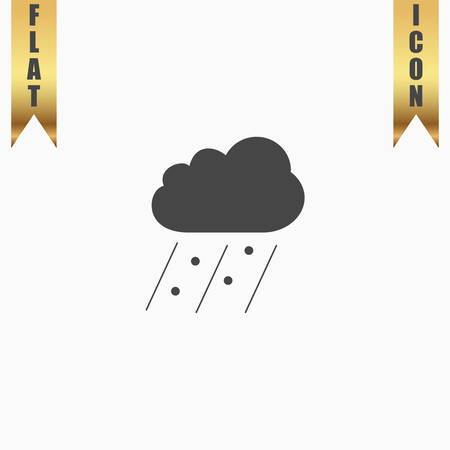 Cloud it is raining and hail. Flat Icon. Vector illustration grey symbol on white background with gold ribbon