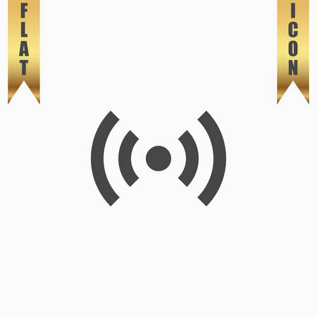wimax: Flat Wi-Fi. Flat Icon. Vector illustration grey symbol on white background with gold ribbon