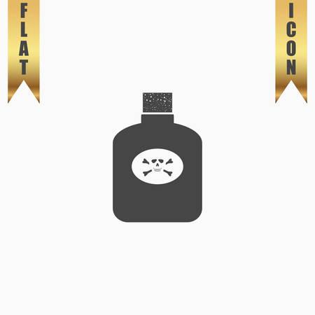 corrosive poison: Bottle of poison. Flat Icon. Vector illustration grey symbol on white background with gold ribbon