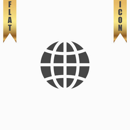 gold earth: Earth Globe. Flat Icon. Vector illustration grey symbol on white background with gold ribbon