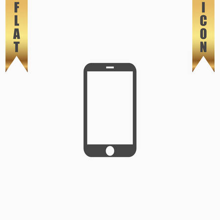 mini: Mobile mini tablet. Flat Icon. Vector illustration grey symbol on white background with gold ribbon