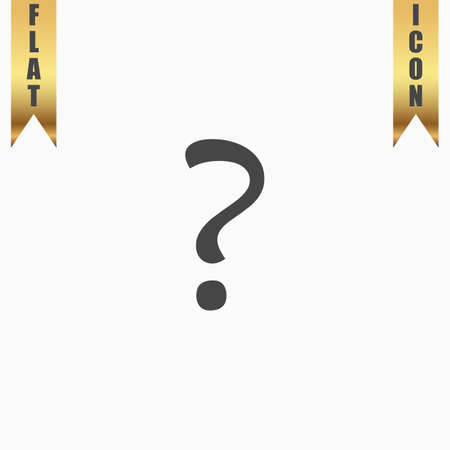 Question mark. Flat Icon. Vector illustration grey symbol on white background with gold ribbon Illustration